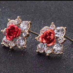 Jewelry - Brand New Red Rose Rhinestone Stud Earrings